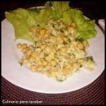 Salada de Grão de bico com lascas de Bacalhau
