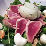 Salada de atum com sorbet de limão